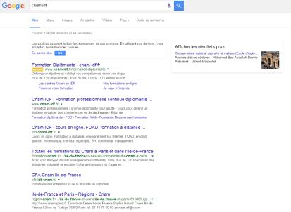 Audit, recommandations stratégiques et gestion de campagnes Google AdWords pour le CNAMIDF